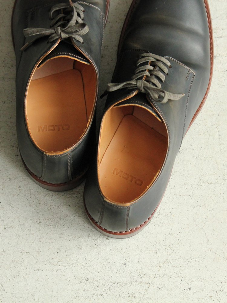 LEATHER&SILVER MOTO | モトレザー Plane Toe Oxford Shoes(Cordvan) #BLACK