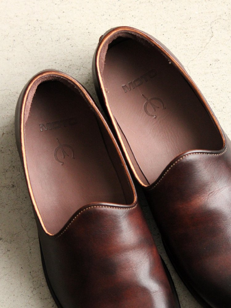 LEATHER&SILVER MOTO | モトレザー Slip-on(Cow Leather) #BROWN