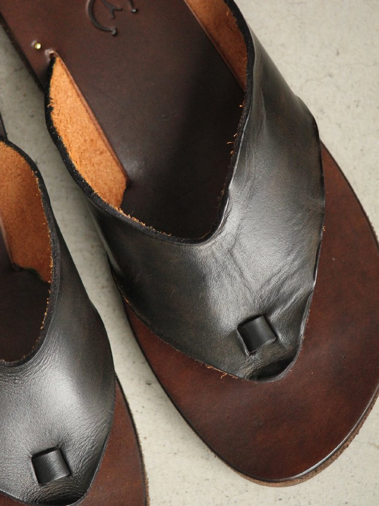 LEATHER&SILVER MOTO | モトレザー Thong Sandal(Cow Leather) #BLACK