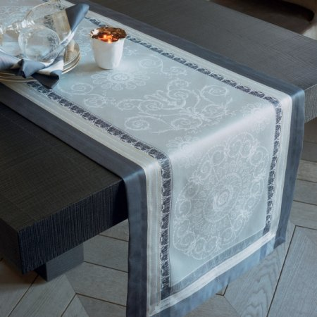 【撥水GS】テーブルランナー ギャルリーデグラス シルバー