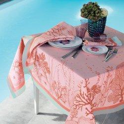 【撥水GS】テーブルクロス コーラル ピンク