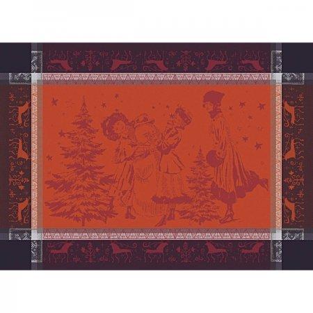 【撥水GS】ランチョンマット クリスマスキャロル ボルドー (4枚セット)