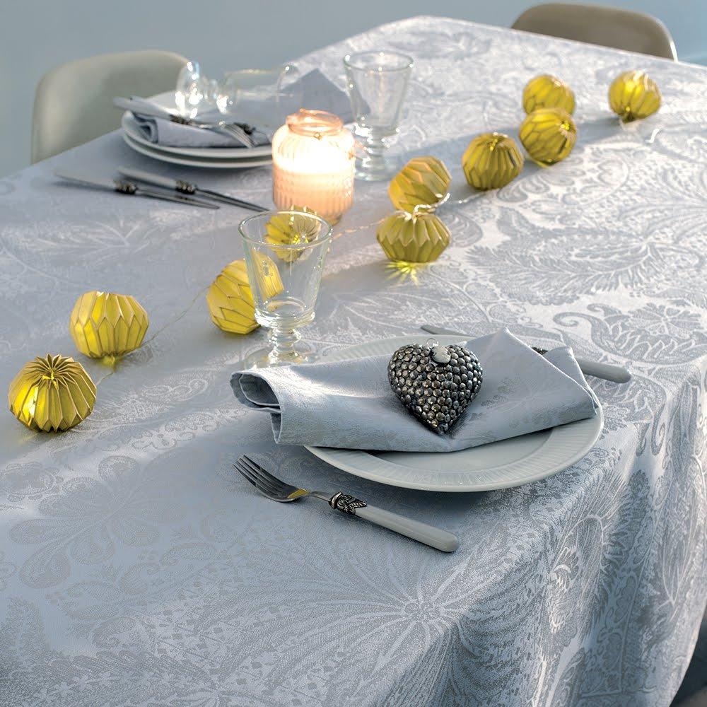 ガルニエティエボー テーブルクロス(撥水なし) ミルイサフィール パステルブルー