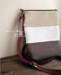 (cn-57) beige/white/brown リネン 革  ポシェット バック(ハンドメイド)