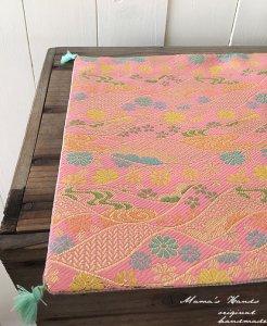 (co-245) 淡い ピンク 花柄 金らん 高品質 着物 帯 フリー クロス(ハンドメイド)
