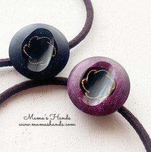 (co-680) ラベンダー 紫 黒 ゴールド モチーフ ヘアゴム(ハンドメイド)
