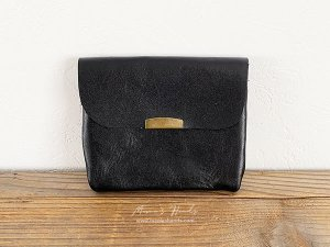 (cp-282)  革 黒 ブラック お財布/ カードケース C(ハンドメイド)