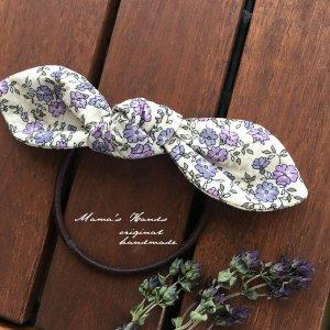 (cp-283) ラベンダー 紫 小花 あじさい色 リボン ヘアゴム (ハンドメイド)