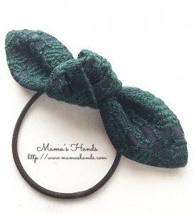 (cp-479) 刺繍 深緑 x 黒 シック ヘアゴム(ハンドメイド)