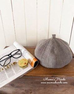 (cp-524)  おしゃれ ベージュ ガーゼウール100% かぼちゃ ベレー 帽子(ハンドメイド)