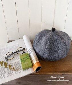 (cp-525) おしゃれ ヘリンボーン ウール100% かぼちゃ ベレー 帽子(ハンドメイド)