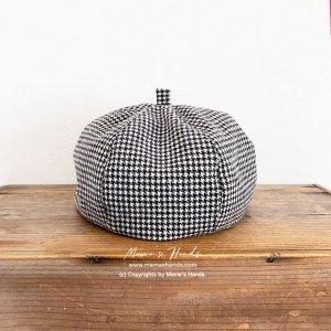 (cp-529) おしゃれ 千鳥格子 モノトーン ウール100% かぼちゃ ベレー 帽子(ハンドメイド)