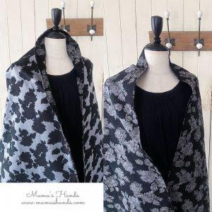 (cp-545)リバーシブル ジャガード織 花柄 黒 グレー ウール混 良品質 ストール ショール(ハンドメイド)