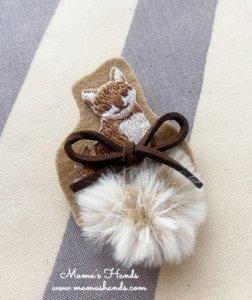 (cp-553) 柴犬 雑種 犬 イヌ いぬ ファー 刺繍 ブローチ(ハンドメイド)