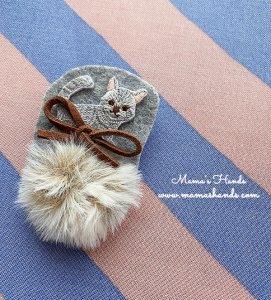(cp-557) ネコ ねこ 猫 グレー ファー 刺繍 ブローチ(ハンドメイド)