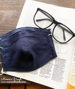 (cp-592) ★人気★ 3枚 ネイビー 紺  綿100% ガーゼ 大人用 立体型 エコ 布マスク(ハンドメイド)