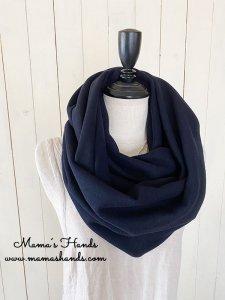 (cp-708) ★3点限定★ ラムウール Lamb's wool  紺色 良品質 スヌード(ハンドメイド)