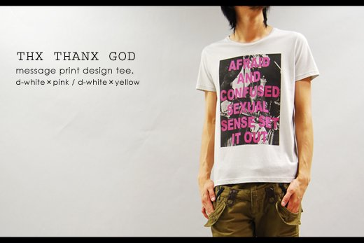 【THANX GOD】レーヨン混デザイン・フォト&メッセージプリント半袖TEE<img class='new_mark_img2' src='//img.shop-pro.jp/img/new/icons20.gif' style='border:none;display:inline;margin:0px;padding:0px;width:auto;' />