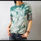 【RUM gulp】五分袖Tアンサンブル・タイダイ染め メンズ半袖Tシャツ