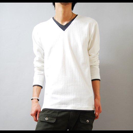シャツ メンズ オルテガプリント5分袖VネックTシャツトップス Vネック 半袖T