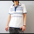 【デニムスタイルに好相性なカラーリング】ネイティブプリント・W襟鹿の子 メンズポロシャツ