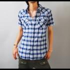 【空を思わせる鮮やかなブルー!夏らしい1着です!】オンブレーチェック・メンズウエスタン半袖シャツ