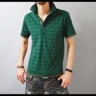 【グリーンって清潔でキレイめな印象が引き立つ♪】ボーダー織り・鹿の子天竺 メンズポロシャツ