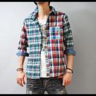 【スタイリングを個性的で華やかなインパクトある印象に♪】クレイジーパターン・七分袖チェックシャツ
