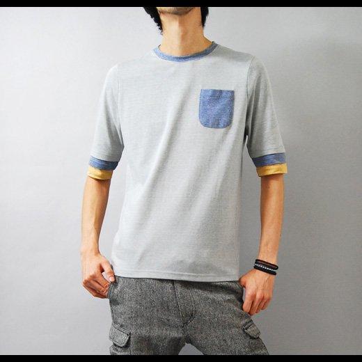 【袖のカラーリングがさり気なくスタイリングのポイントに♪】トリプルフェイクレイヤード五分袖Tシャツ