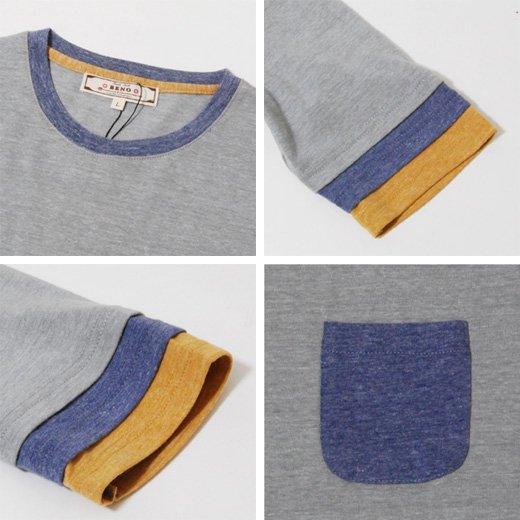 【袖のカラーリングがさり気なくスタイリングのポイントに♪】トリプルフェイクレイヤード五分袖Tシャツ詳細3