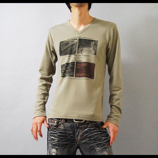【ジャケットに合う!目を惹くデザインプリントがインパクトあり♪】フォトプリント・Vネック長袖Tシャツ