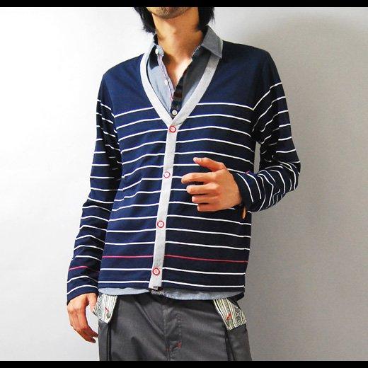 【落ち着きのあるネイビー×グレーのコントラストが◎】ボーダープリント・フェイクシャツカーディガン