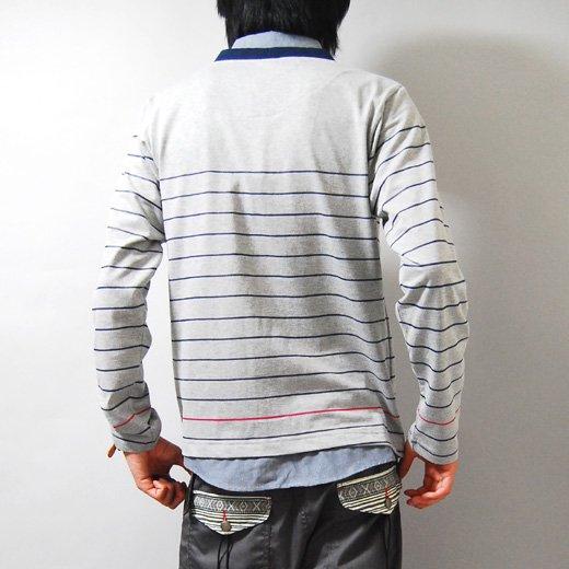 【合わせを選ばず着回せる万能なライトグレーはスゴイ♪】ボーダープリント・フェイクシャツカーディガン詳細1