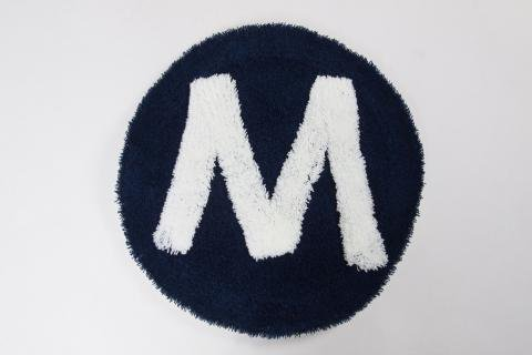 "SECOND LAB "" ALPHABET CHAIR RUG ""M""  NAVY /セカンドラボ "" チェアーラグ """