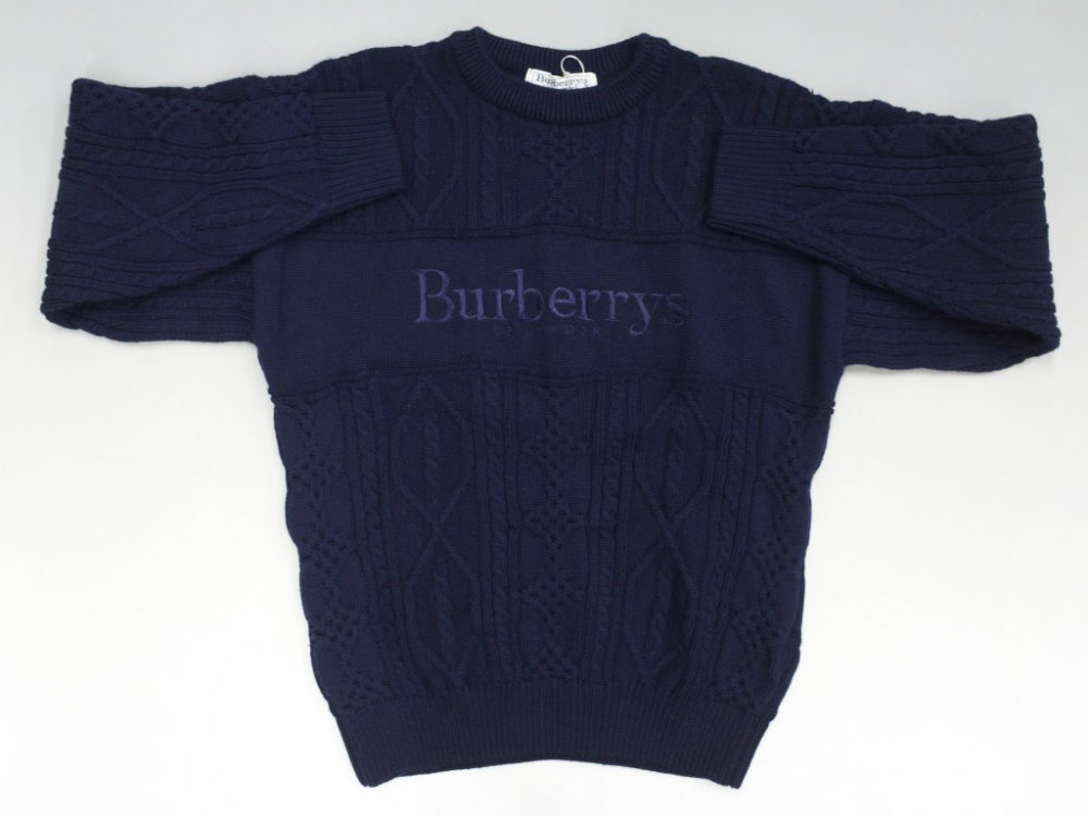 BURBERRYS バーバリーズ ケーブル編み ロゴセーター  MADE IN ENGLAND USED