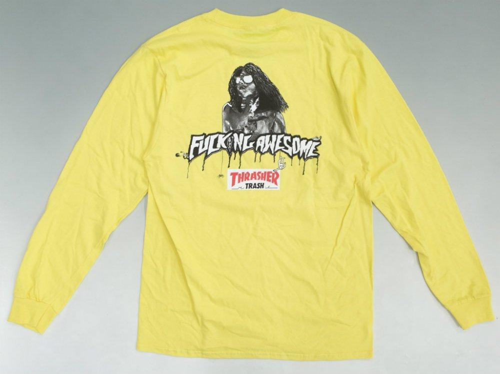 Fucking Awesome x Thrasher Trash Me  ロングスリーブTシャツ yellow