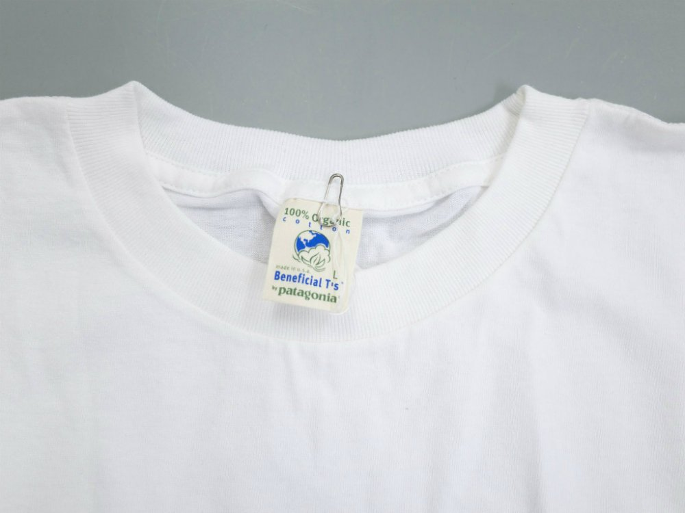VINTAGE 90's patagonia パタゴニア 100% Organic Cotton Tシャツ Beneficial T's MADE IN USA DEADSTOCK