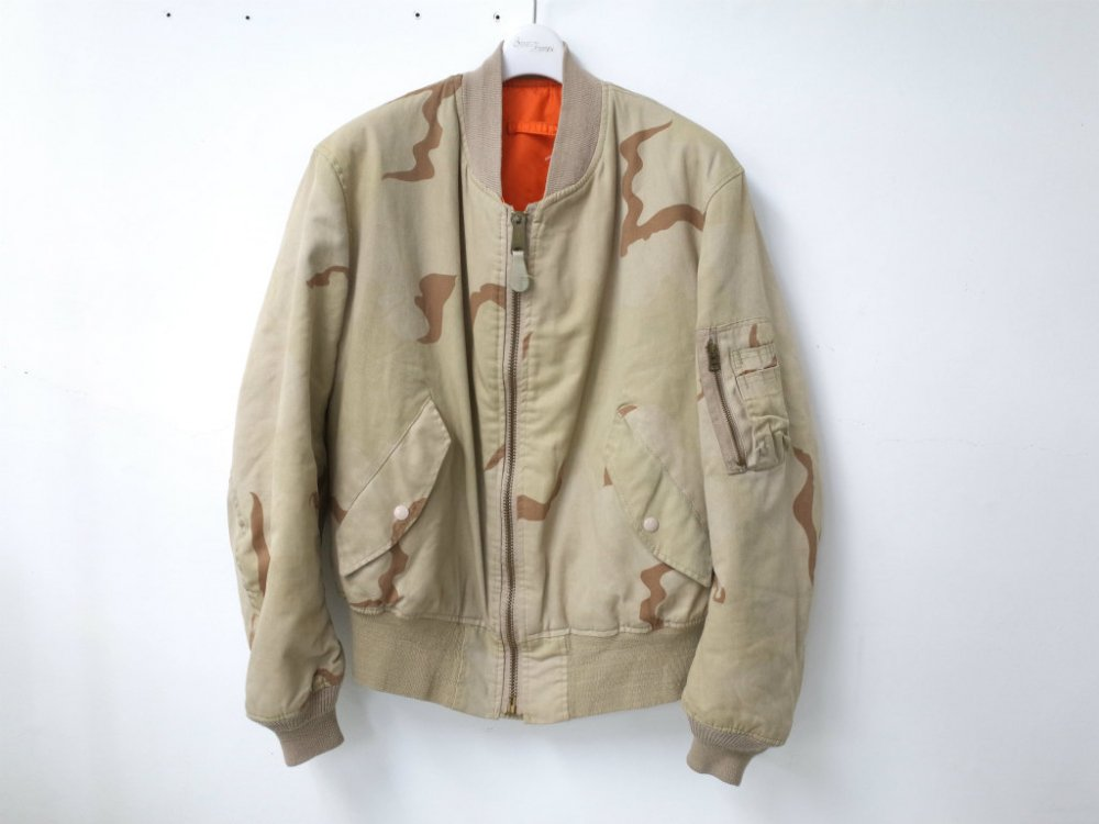 VINTAGE 90's ALPHA アルファ MA-1 camo MADE IN USA  USED