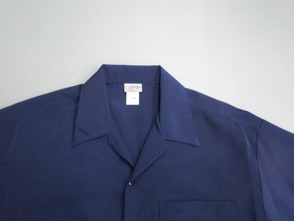 CALTOP OPEN COLLAR S/S シャツ navy MADE IN USA