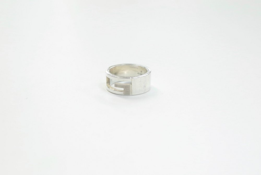GUCCI グッチ ロゴ リング silver925 12号 MADE IN ITALY  USED