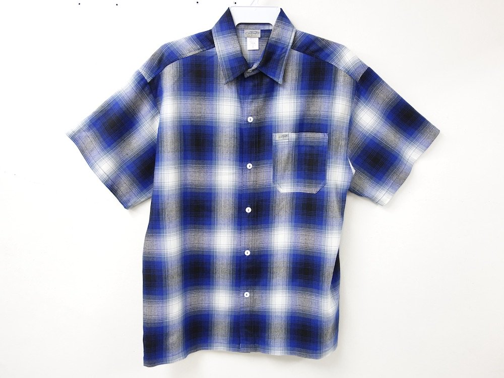 CALTOP OMBRE CHECK S/S シャツ R/B  MADE IN USA
