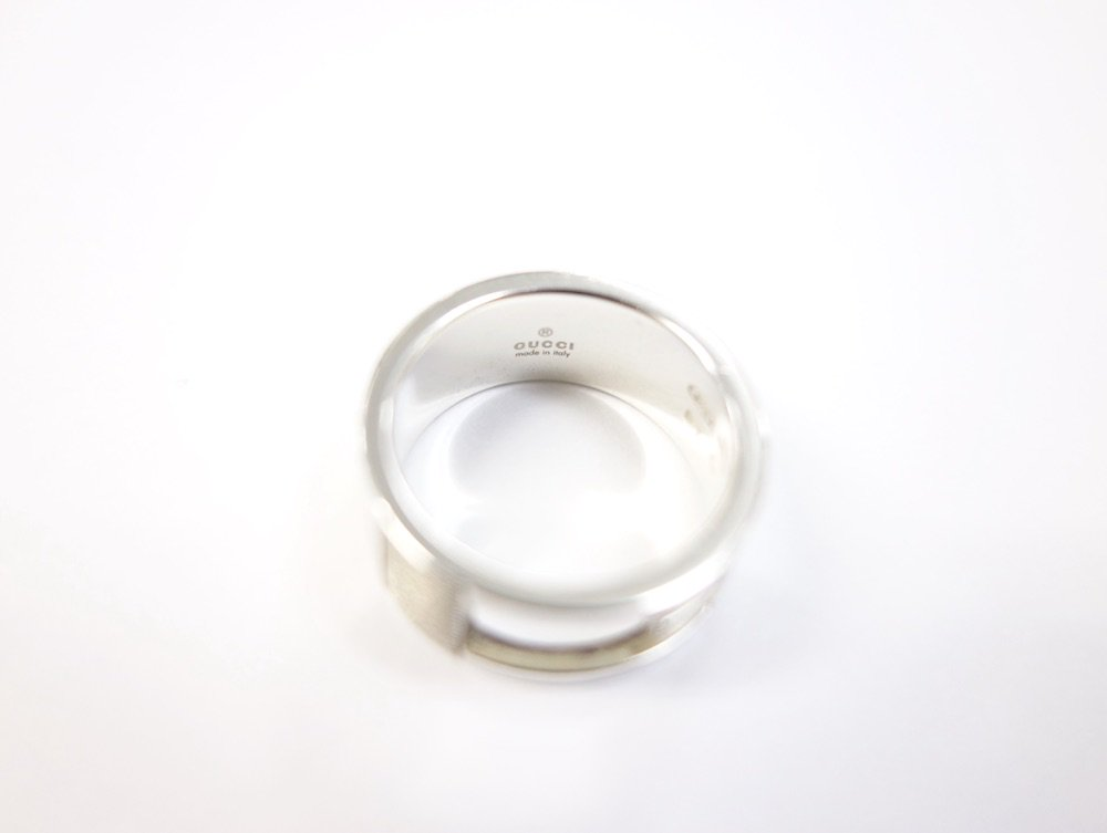GUCCI グッチ ロゴ リング silver925 10号 イタリア製 USED #1
