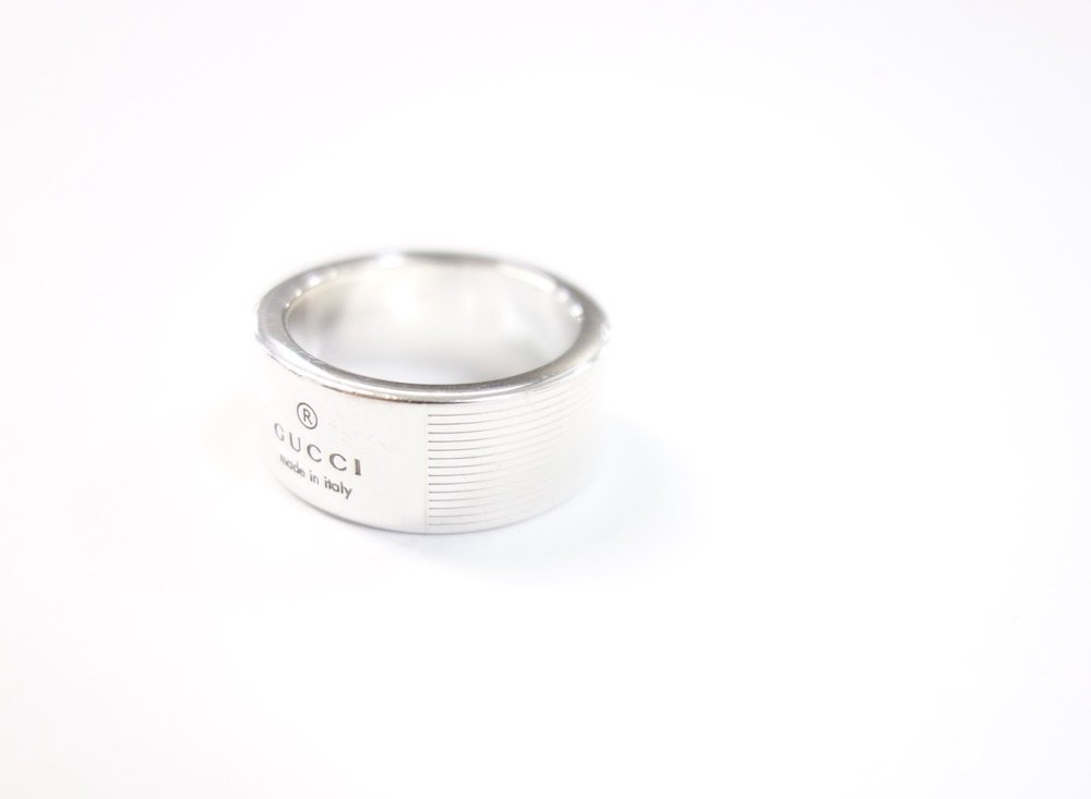GUCCI グッチ ロゴ リング silver925 9号 イタリア製  USED #1
