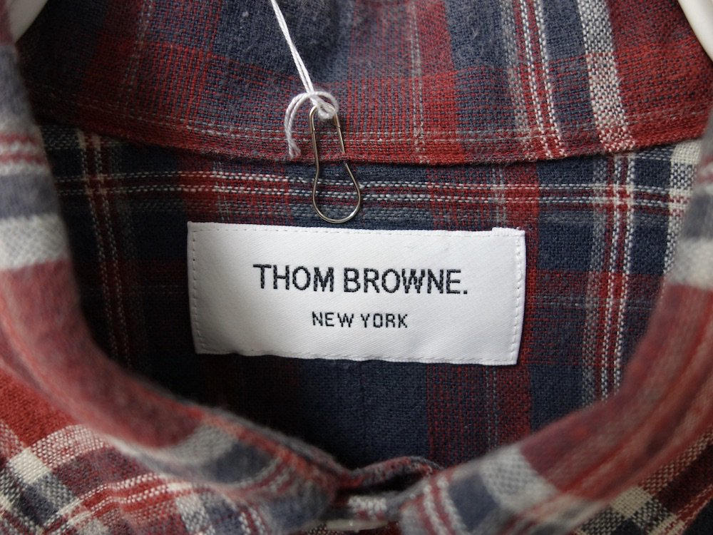 <img class='new_mark_img1' src='https://img.shop-pro.jp/img/new/icons15.gif' style='border:none;display:inline;margin:0px;padding:0px;width:auto;' />THOM BROWNE トムブラウン チェック柄 BD フランネルシャツ MADE IN USA USED