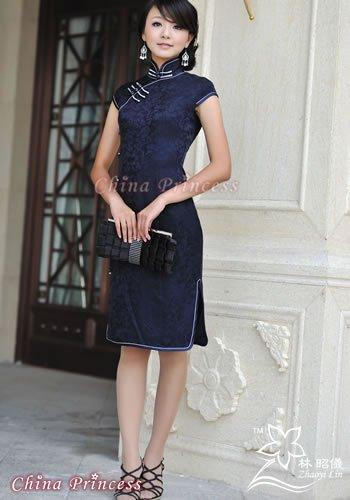 『傾城之恋』_本物シルク×紺色×優雅なミセス・チャイナドレス(オーダーメイドも可能)