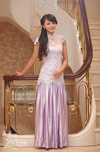 スパンコール総レース×フレア袖×お姫様レッドカーペット・チャイナドレス
