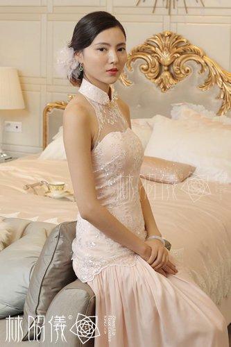 桜柄スパンコール総レース×バイアス裾×お姫様レッドカーペット・チャイナドレス