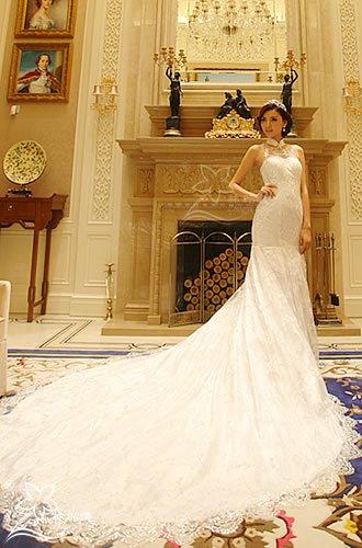 シースルー×スパコール・総レース×マーメイド・トレーンの豪華なウェディングドレス(オーダーメイド可)