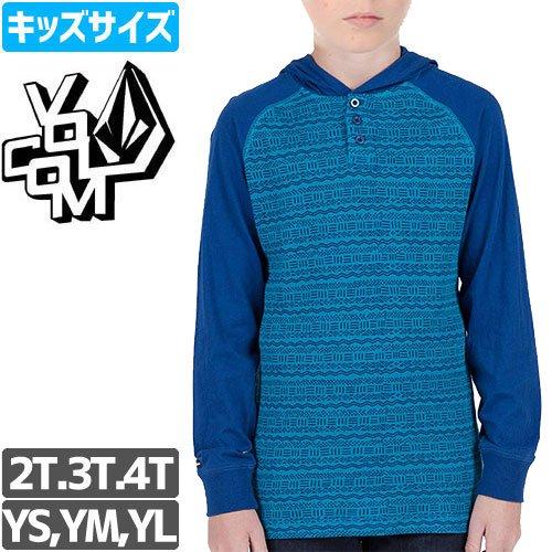 【VOLCOM ボルコム キッズ パーカー】MIXED THERMAL サーマル フード【ブルー】NO14