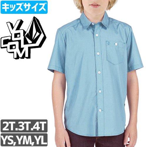 【VOLCOM ボルコム キッズ Yシャツ】EVERETT SOLID SS SHIRT ベイビーサイズ【ブルー】NO20